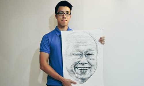 Bức chân dung được tạo từ 18.000 chữ Lý Quang Diệu