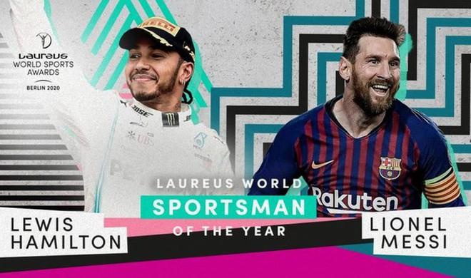 Lionel Messi lần đầu nhận giải VĐV của năm cùng Lewis Hamilton