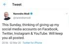 Thủ tướng Ấn Độ cân nhắc từ bỏ mạng xã hội