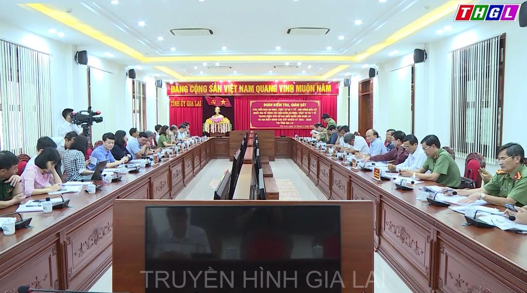 Đoàn Kiểm tra, giám sát của Tiểu ban an ninh, trật tự và y tế, Hội đồng Bầu cử Quốc gia làm việc với Ủy ban Bầu cử tỉnh Gia Lai