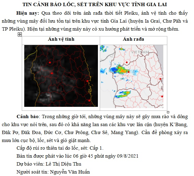 Cảnh báo lốc,sét trên khu vực tỉnh Gia Lai 10-8-2021